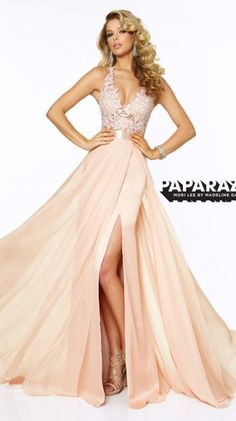 Flirty Lace Chiffon Halter Prom Dress in Blush - Paparazzi by Mori Lee 97018