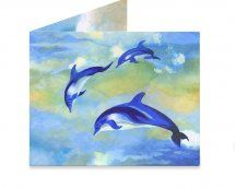 Dynomighty Artist Collective: Dolphin Fantasy by patriciahowitt Fun fantasy image of 3 Dolphins flying through the air above a distant rural landscape / seascape.