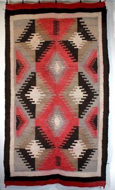 Antique Native American Navajo Ganado Indian Rug Weaving