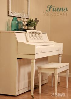 Piano Makeover - 32 Turns. Amazing. Includes a video tutorial in case you wanted to paint your own piano!