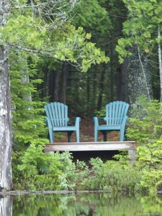 Two Chairs Sit at a Lakeside Camp, Moosehead Lake, Maine