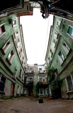 Odessa yard by Bratez Mitka. #old #yard #Odessa #Ukraine #fisheye #architecture #city
