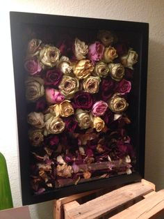 Dried engagement flowers. Diy shadow box