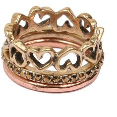 LUCKY BRAND Gold & Rose Gold-Tone Heart Stacked Ring Set (£9.11) ❤ liked on Polyvore featuring jewelry, rings, accessories, bracelets, anillos, multi, band rings, gold heart bracelet, thin stackable rings and gold tone rings