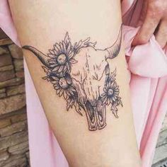 25 Best Taurus Tattoo Ideas & Bull Tattoos For Taurus Zodiac Signs 25 Best Taurus Tattoo Ideas & Bull Tattoos For Taurus Zodiac Signs,Piercings & Tattoos A bull skull tattoo with flowers on forearm. Cow Skull Tattoos, Body Art Tattoos, Sleeve Tattoos, Thumb Tattoos, Tatoos, Cowgirl Tattoos, Western Tattoos, Tattoo Ink, Forearm Tattoo Sleeves