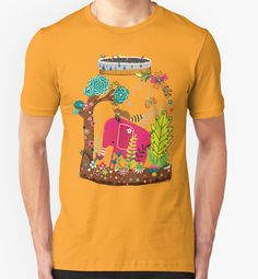 Pink Elephant in Wilderness | Playing in Nature by Gordon White | RedBubble Unisex Gold TShirt | All Sizes Available for Men and Women @redbubble @RedHillStudios