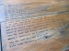 Eek! LOVE this idea of stamping a poem into a coffee table!