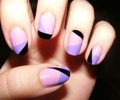 Beautiful color blocked nails. Violet, blush, black. Hot combo.