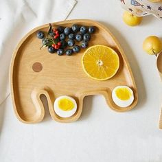 Cute Elephant Food Dish Wooden Appetizer Platter Dinner Plate Tray for Kids Children Mini Cartoon Animail Wood Dinner Dishes 3