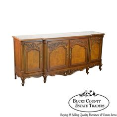"""High quality long 4-door fruitwood credenza with burlwood top and door fronts, along with a dovetailed drawer. Louis XV. AGE / ORIGIN D : 19"""". A photo record is made and kept when the item first arrives to our facility before being stowed away & listed for sale. 