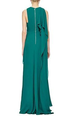 Elie Saab - Green Double Silk Georgette Draped Gown