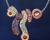 Necklace with hand-made stoneware beads, agate bead with apatite and carnelian cabochon.