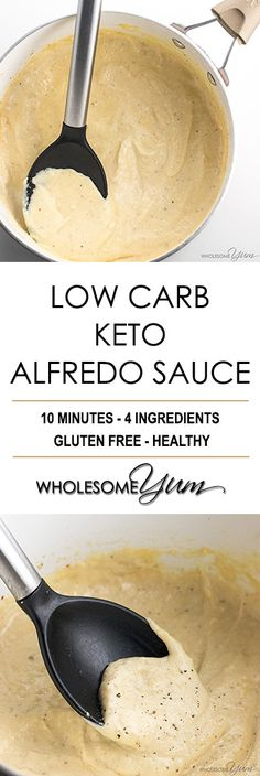 Low Carb Keto Alfredo Sauce - Garlic Parmesan Cream Sauce Recipe - This low carb keto Alfredo sauce is easy to make - just 10 minutes and 4 common ingredients! It will be your favorite garlic Parmesan cream sauce recipe. alfredo sauce for one Keto Sauces, Low Carb Sauces, Low Carb Cheese Sauce, Gluten Free Sauces, Ketogenic Recipes, Low Carb Recipes, Keto Foods, Pizza Recipes, Healthy Recipes