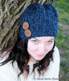 Crochet Beanie  Mini Slouch in Denim Blue by ScarletsCorner, $30.00
