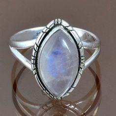 925 STERLING SILVER LOVELY RAINBOW MOONSTONE RING 4.34g DJR9159 SZ-8 #Handmade #Ring