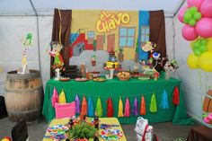El Chavo del ocho, kids Party, dessert table, childrens party, decoration, Birthday, Idea, mexican theme, custom chair covers, la vecindad