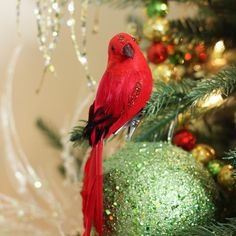 753d16e72bc Northlight Long Tailed Clipon Bird with Glitter Accent Christmas Ornament  10 Red   Click on the
