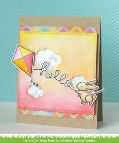 Lawn Fawn - Yay,Kites!; Big Scripty Words, Cross-Stitched Square Stackables, Perfectly Plaid paper, Simple Puffy Clouds _ card by Yainea for Lawn Fawn Design Team