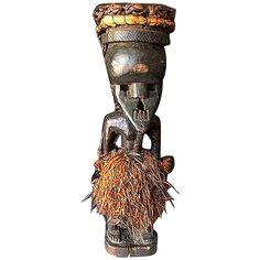 An exceptional and rare Masked Salampasu Figure, in the style of the Mukinka - (Chief), in ceremonial costume!  The first purpose of the tribally used Mask was to act as a temporary dwelling place for a Spirit. Traditionally these Masks played (and still do) a dominant role in Funerary, Circumcism, Initiation & other ceremonial celebrations. Exact use of the figures is unknown, and while fewer figures exist, the Salampasu are famed for these statuary - some, larger than life!