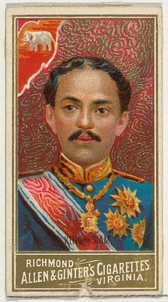 """King of Siam, from the """"World's Sovereigns"""" series (N34) for Allen & Ginter Cigarettes, c1889."""