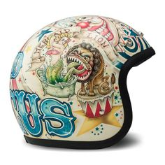 Italian manufacturer DMD offer high quality full face and open face helmets with striking motocross inspired designs, the stylish helmets are a remake of the iconic shell, with all the modern safety standards in place. The helmets are comfort Open Face Motorcycle Helmets, Open Face Helmets, Women Motorcycle, Airbrush, Bobber Helmets, Moto Design, Cafe Racer Helmet, Motorbike Accessories, Tatoo
