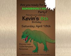 Is your boy crazy about Dinosaurs and of course the great T-rex? Then start his party with this dangerously fun