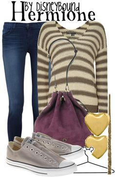 Inspired by Hermione Granger from Harry Potter (via Disneybound) Disney Bound Outfits, Disney Inspired Outfits, Themed Outfits, Disney Style, Harry Potter Style, Harry Potter Outfits, Fantasia Harry Potter, Estilo Disney, Character Inspired Outfits