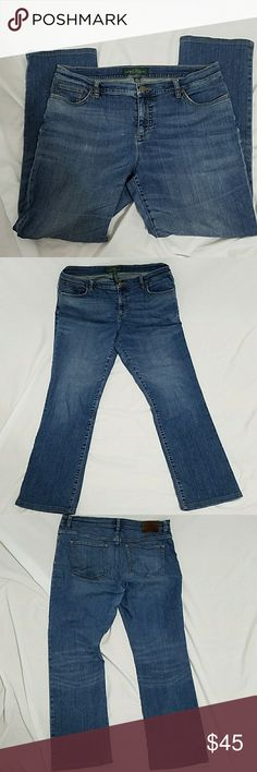 Ralph Lauren women's jeans size 14 EUC lrl Lauren James company by Ralph Lauren they are size 14 jeans and are 19in laying flat at the waist, 10 inch rise, 28 inch inseam any questions feel free to ask Ralph Lauren Jeans