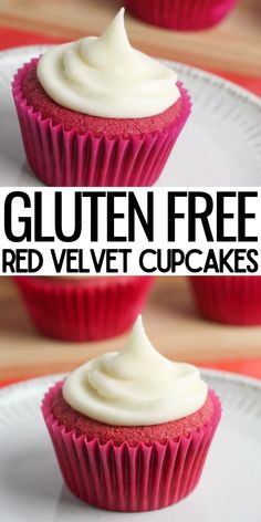 Gluten Free Red Velvet Cupcakes Recipe, Gluten Free Icing, Cupcake Icing Recipe, Gluten Free Cupcake Recipe, Dairy Free Cupcakes, Healthy Cupcakes, Dairy Free Snacks, Gluten Free Sweets, Cupcake Recipes