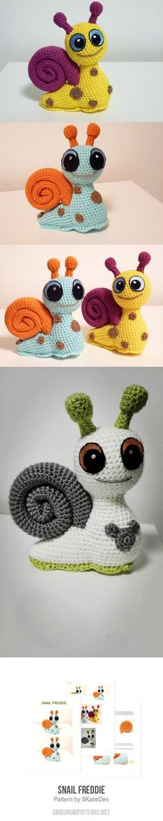 Snail Freddie Amigurumi Pattern by cecelia Crochet Snail, Cute Crochet, Crochet Crafts, Crochet Dolls, Crochet Projects, Baby Knitting Patterns, Amigurumi Patterns, Knitted Animals