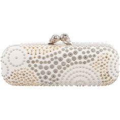 Pre-owned Alexander McQueen Twin Skull Swirl-Studded Box Clutch ($995) ❤ liked on Polyvore featuring bags, handbags, clutches, white, white leather purse, white handbags, man bag, leather clutches and leather skull purse