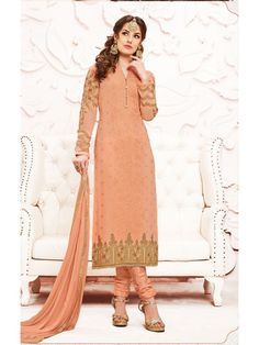 c9e079b0c8 Exotic Peach Designer Salwar Kameez Churidar, Salwar Kameez, Designer Salwar  Suits, Embroidery Patches