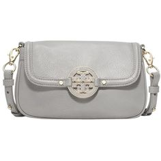 Pre-owned Tory Burch - New With Amanda Mini Leather Mercury Grey Cross... ($212) ❤ liked on Polyvore featuring bags, handbags, shoulder bags, grey, leather crossbody, mini crossbody, leather cross body purse, leather crossbody purse and mini crossbody purse