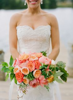 pink + peach wedding bouquet // photo by Stacey Hedman, floral design by Petal Floral Design // ruffled