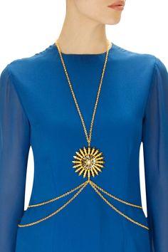 Gold plated london eye body chain by Prerto. Shop now: www.perniaspopups.... #bodychain #beautiful #designer #prerto #accessory #shopnow #perniaspopupshop #happyshopping