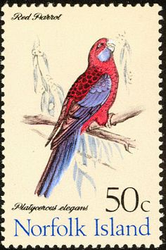 Crimson Rosella stamps - mainly images - gallery format