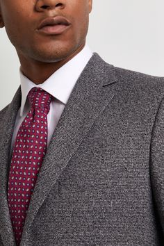 Moss 1851 Tailored Fit Charcoal Puppytooth Jacket Plain Shirts, White Shirts, Suits You, Cool Suits, Crisp White Shirt, Pink Ties, Smart Styles, Fitted Suit, Office Looks