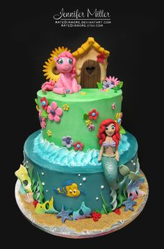 my little pony birthday cake ideas | My Little Pony and The Little Mermaid by ~ArteDiAmore on deviantART