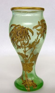 Mont Joye Cameo And Enamel Art Glass Vase.
