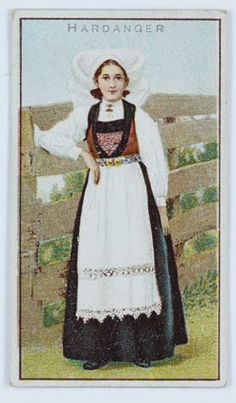 Card - National Costume, Hardanger Female, blue dress, circa 1900