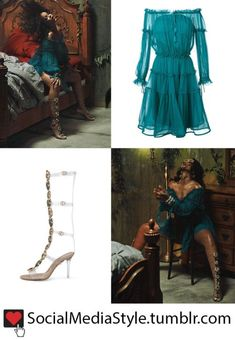 """Buy Rihanna's """"Wild Thoughts"""" Video Turquoise Off-The-Shoulder Dress and Gladiator Sandals, here! night Drawings quotes Rihanna's """"Wild Thoughts"""" Video Turquoise Off-The-Shoulder Dress and Gladiator Sandals Rihanna Costume, Rihanna Dress, Rihanna Outfits, Turquoise Clothes, Turquoise Dress, Date Outfits, Classy Outfits, Fashion Outfits, Women's Fashion"""