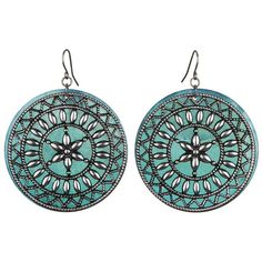 Buy Shell Tile Earrings - These dangle earrings have a filigree disc that is backed by a colorful shell. Together they make an eclectic, casual look that adds …