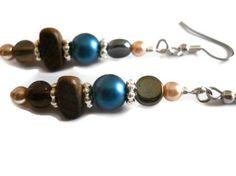 Tan Pearl Earrings Bohemian Earrings Royal Blue by chicagolandia, $17.00