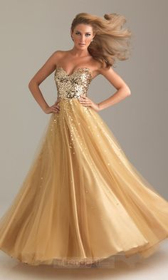 Attractive A-line Sweetheart Floor-length Organza Gold Prom Dresses