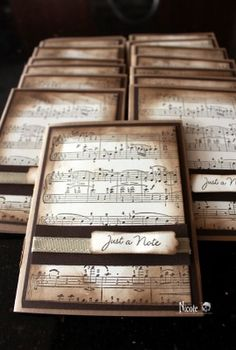great idea with old sheet music! Sheet Music Crafts, Old Sheet Music, Musical Cards, Partition, Masculine Cards, Creative Cards, Greeting Cards Handmade, Diy Cards, Scrapbook Cards