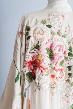 Antique Ivory Kimono with Colorful Embroidery - One Size