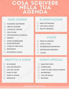 cosa scrivere nella tua agenda - Finance tips, saving money, budgeting planner Agenda Organizer, Agenda Organization, Filofax, Agenda Bullet, Agenda Planning, Autogenic Training, Bellet Journal, Home Binder, Bullet Journal School