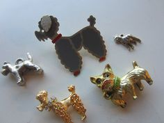 Vintage brooch/ scatter pin cute grey poodle dog (signed James H Hall), and 4 charms all dogs, 1950's, estate sale find.(mar 307) by pillowtalkswf on Etsy