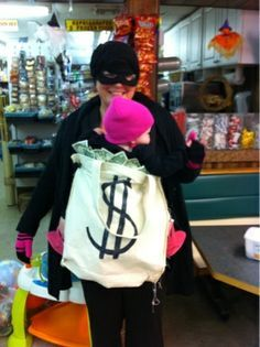 Veronica this would be cute !!! Babywearing bank robber!  #halloween #costume