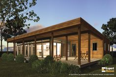 Model 756 | GOSCOBEC - Modular prefabricated homes Prefabricated Houses, Prefab Homes, Cabin Design, Cottage Design, Plan Chalet, Casas Containers, Modern Tiny House, Eco Friendly House, Cabin Plans